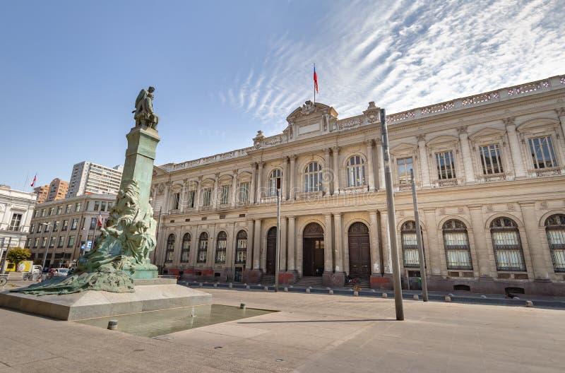Tidigare kongress på den PlazaMontt-Varas fyrkanten - Santiago, Chile arkivfoton