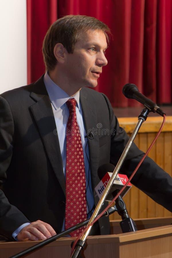 Tidigare premiärminister av Ungern, herr Gordon Bajnai royaltyfria bilder