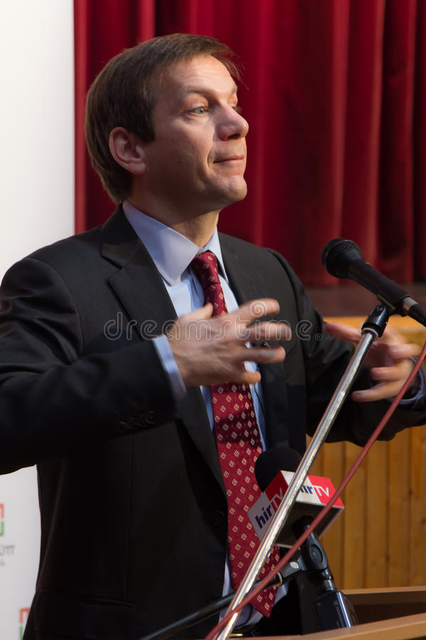 Tidigare premiärminister av Ungern, herr Gordon Bajnai fotografering för bildbyråer