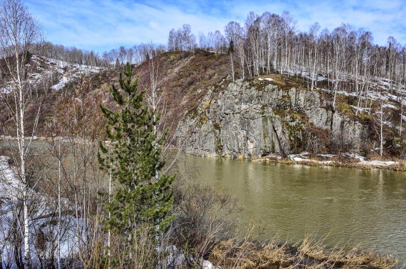 Tidigt vårlandskap på bergfloden med steniga banker arkivfoto
