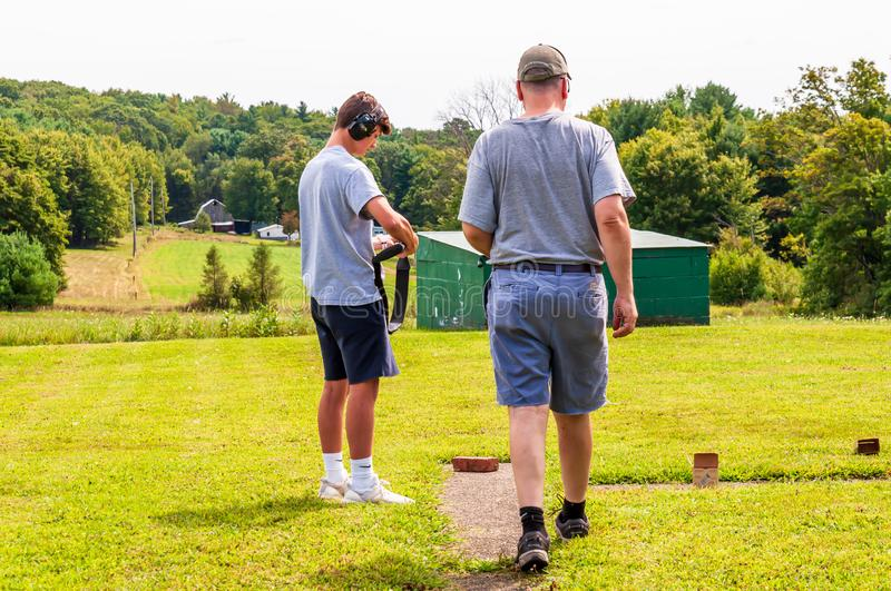 Tidioute, Pennsylvania, USA 8/30/2019 Shooting trap at the Bucktails Gun Club royalty free stock photography