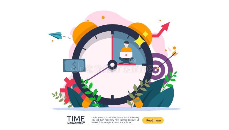 tidledning och f?rhalningbegrepp planl?ggning och strategi f?r aff?rsl?sningar med klockan, kalendern och mycket litet folk stock illustrationer