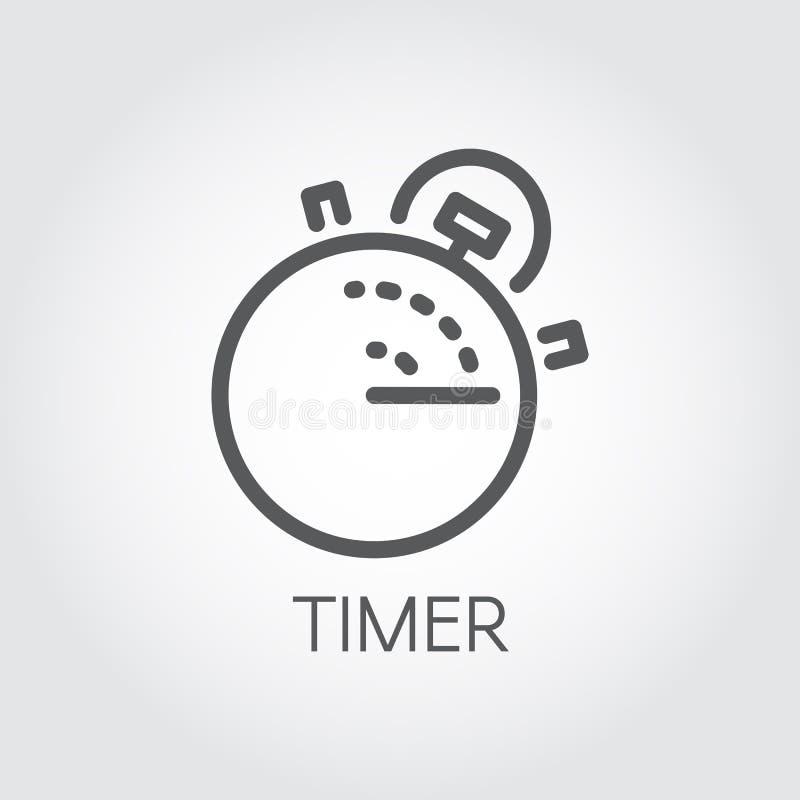 Tidmätareöversiktssymbol Mono linjär etikett Äta lunch tid, nedräkningmatlagning, den snabba leveransen och exakthetsbegreppspict vektor illustrationer