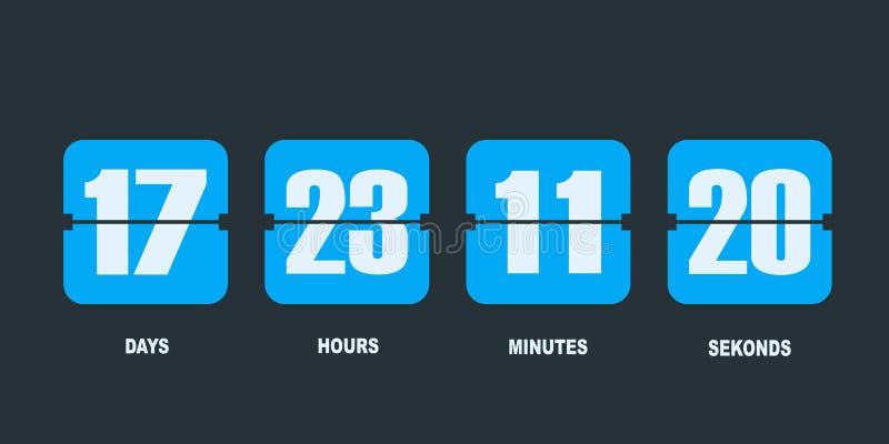 Tidmätare för räknare för Flipnedräkningklocka stock illustrationer