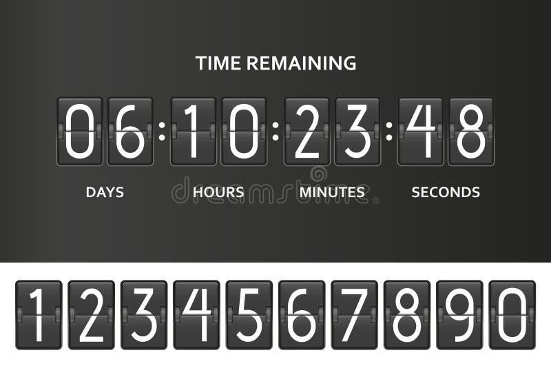 Tidmätare för räknare för Flipnedräkningklocka Tajma den resterande räkningen stiger ombord ner med funktionskortet av dagen, tim stock illustrationer