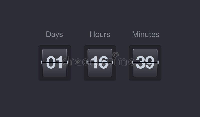Tidmätare för vektorflipnedräkning Klockaräknare för websites och manöverenheter Dagar, timmar och minuter royaltyfri illustrationer
