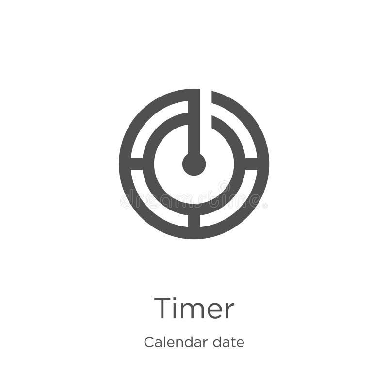 tidmätaresymbolsvektor från samling för kalenderdatum Tunn linje illustration för vektor för tidmätareöversiktssymbol Översikt tu royaltyfri illustrationer