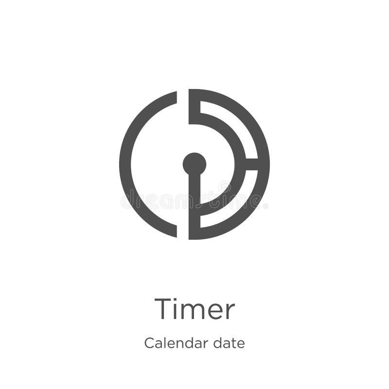 tidmätaresymbolsvektor från samling för kalenderdatum Tunn linje illustration för vektor för tidmätareöversiktssymbol Översikt tu vektor illustrationer