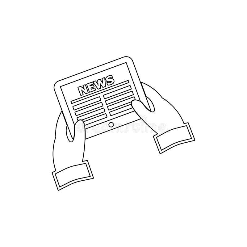 Tidning i handsymbol Beståndsdel av massmedia för mobil begrepps- och rengöringsdukappsillustration Tunn linje symbol för website vektor illustrationer