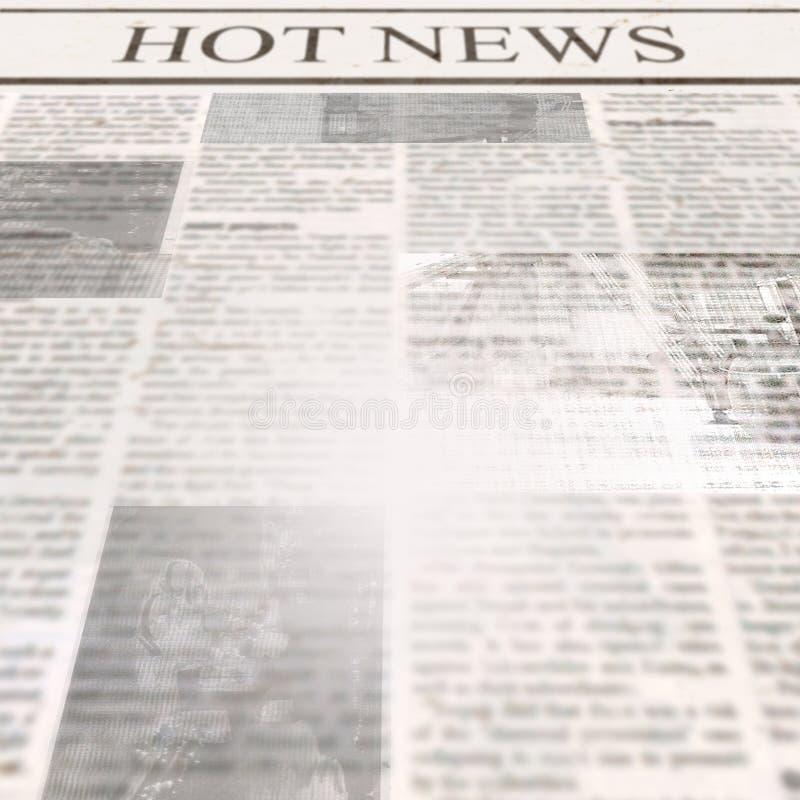 Tidning med varm nyheterna för rubrik och gammal oläslig text royaltyfri bild