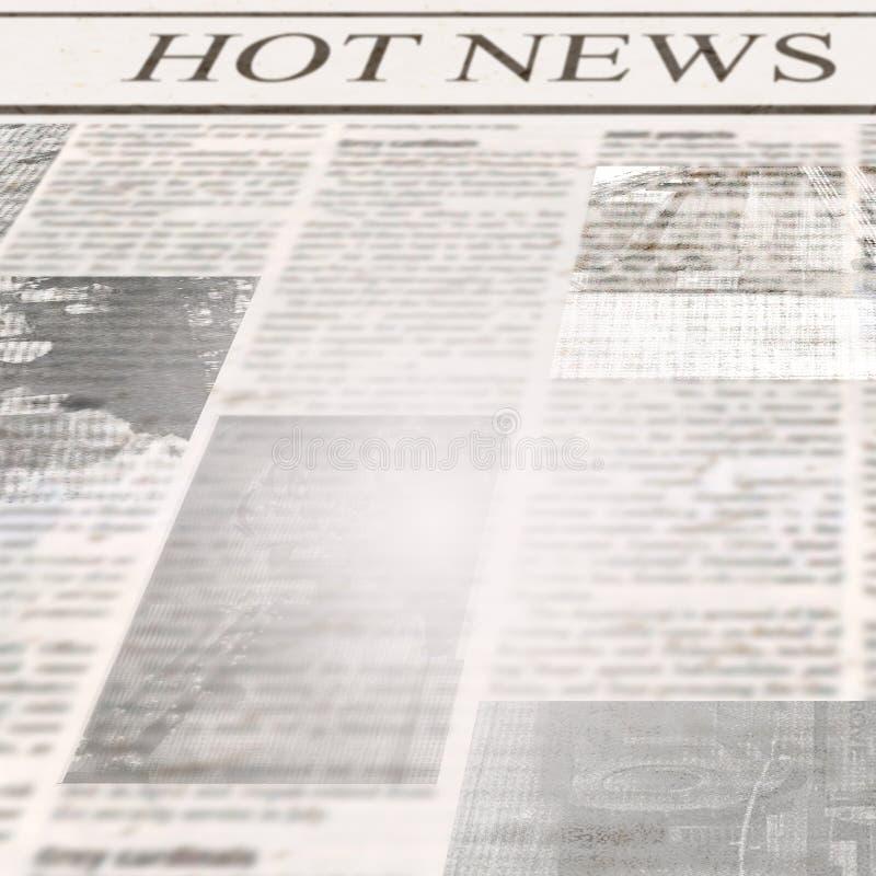 Tidning med varm nyheterna för rubrik och gammal oläslig text royaltyfri foto