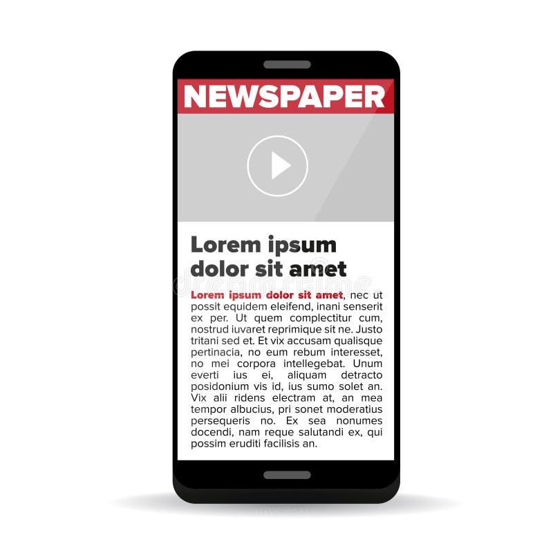 Tidning på skärmsmartphonen royaltyfri illustrationer