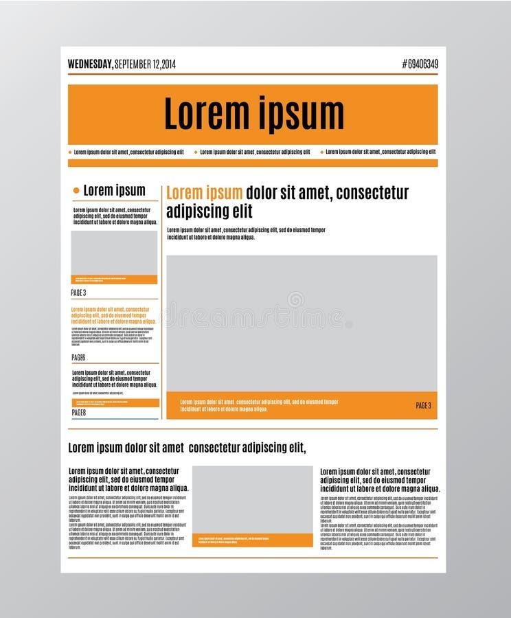 Tidningsdesignmallen med den röda rubriken, avbildar och diagram, artiklar och finansiell information som annonserar vektorn royaltyfri illustrationer