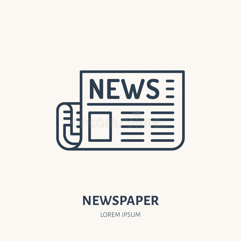 Tidningslägenhetlinje symbol Nyhetsartikeltecken Tunn linjär logo för press royaltyfri illustrationer