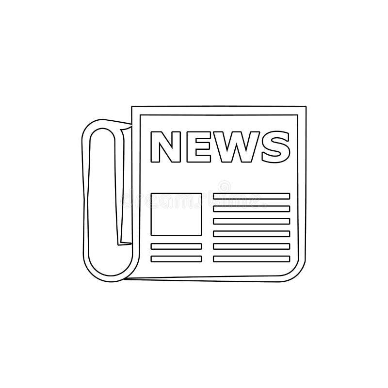 Tidningslinje symbol Beståndsdel av massmedia för mobil begrepps- och rengöringsdukappsillustration Tunn linje symbol för website vektor illustrationer