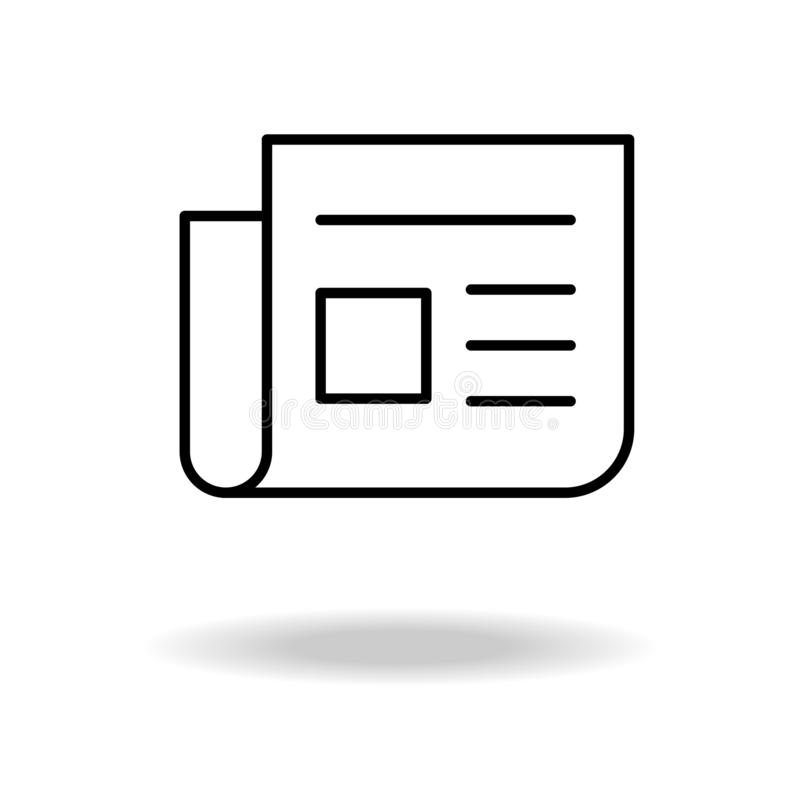Tidningslinje symbol, ?versiktsvektortecken, linj?r pictogram som isoleras p? vit Nyheternasymbol, logoillustration royaltyfri illustrationer