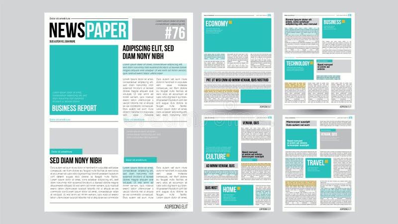 Tidningsmallvektor Finansiella artiklar, information om affär Öppnande redigerbara rubriktextartiklar realistiskt stock illustrationer