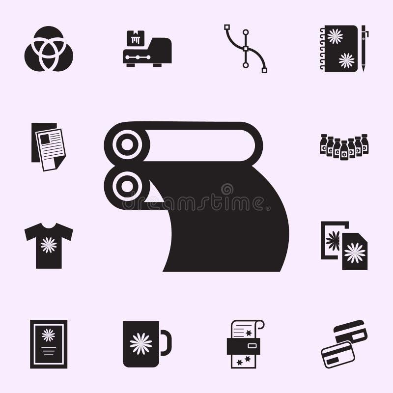 tidningsprintingsymbol Universell upps?ttning f?r tryckhussymboler f?r reng?ringsduk och mobil stock illustrationer