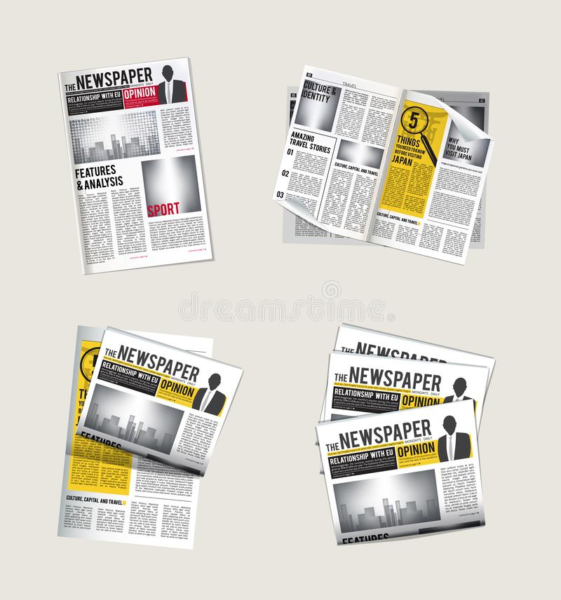 Tidningssymboler Journalistsamling av läsande daglig nyheterna med symboler för rubriktabloidtidningvektor av tidningen vektor illustrationer