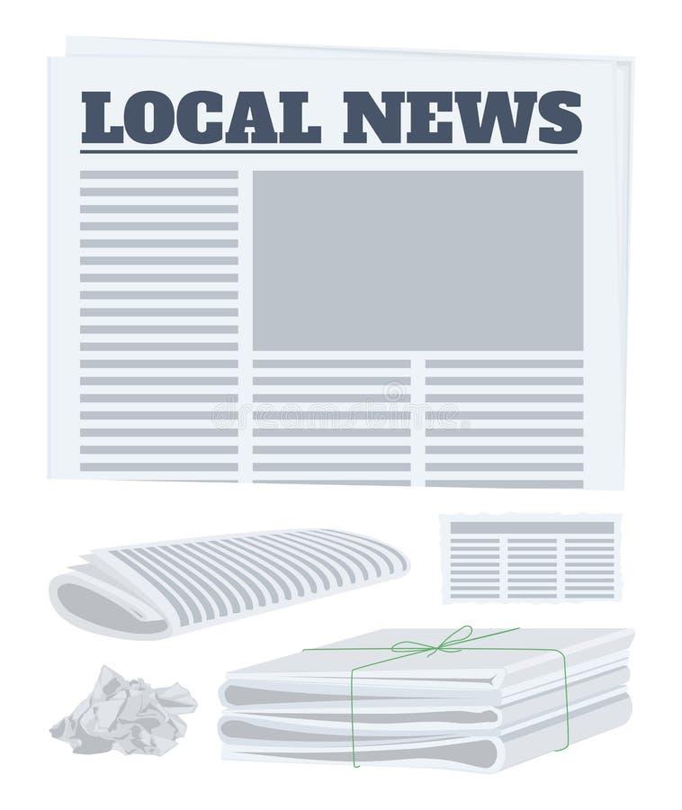 Tidningsuppsättning Papper i en rulle, ett stycke och en packe av tidningar också vektor för coreldrawillustration stock illustrationer