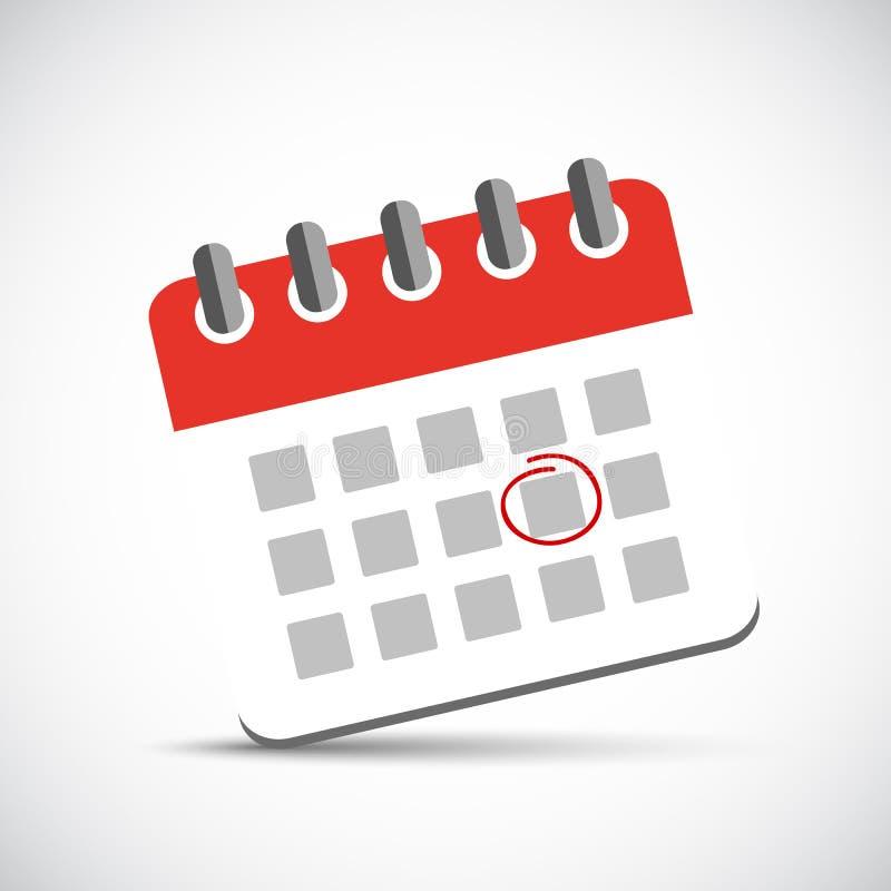 Tidsbeställningscirkel i en röd kalendersymbolspictogram vektor illustrationer