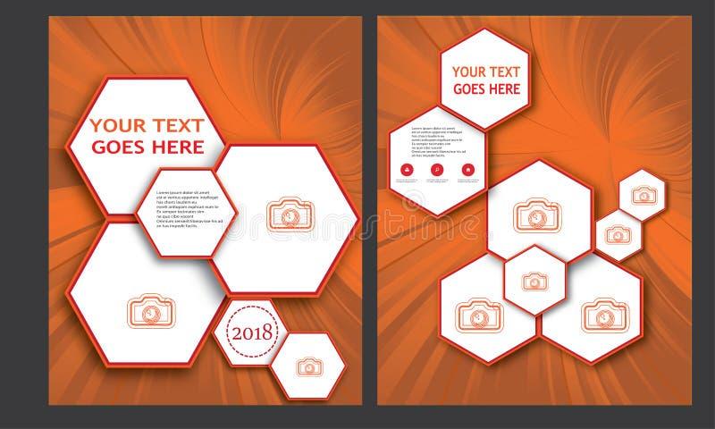 Tidskrift för brevhuvud för häfte för broschyr för orientering för sida för bokomslag för årsrapport för mall för affär för mall  royaltyfri illustrationer