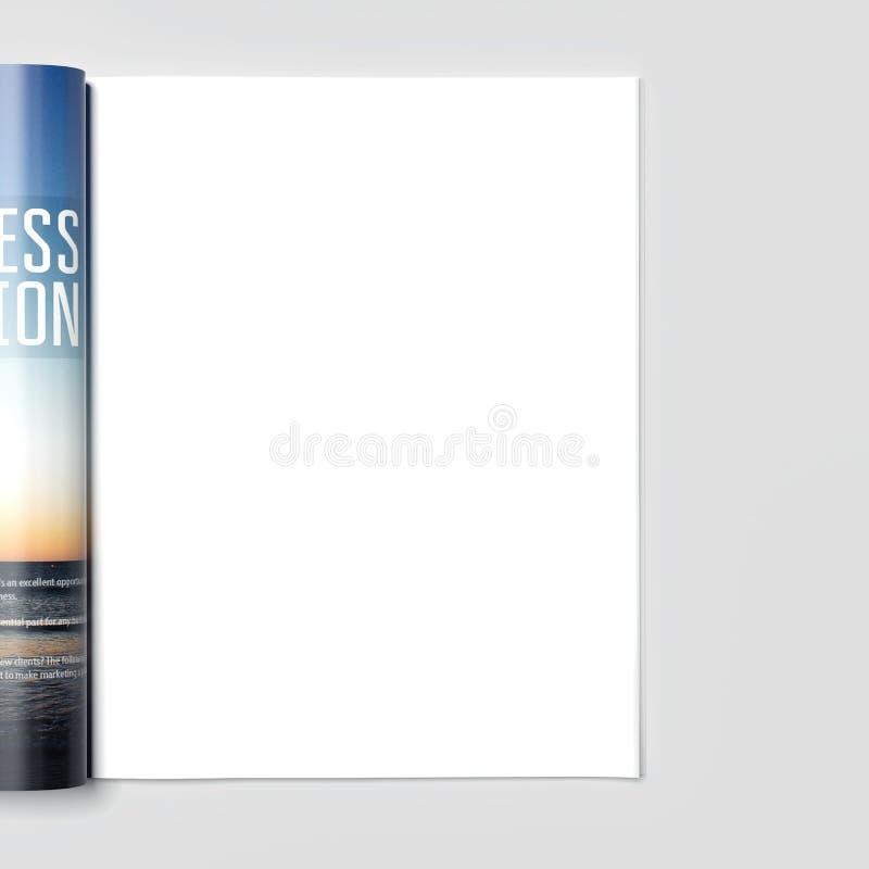 Tidskrift med den tomma vita sidan framförande 3d vektor illustrationer