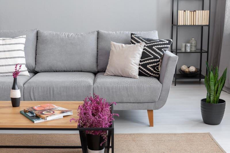 Tidskrifter och ljung på trätabellen nära den bekväma gråa soffan med kuddar, verkligt foto med kopieringsutrymme royaltyfri bild