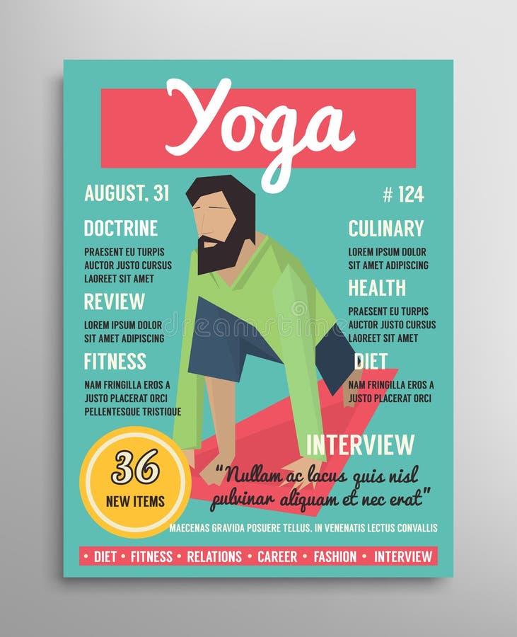 Tidskrifträkningsmall Blogging lager för yoga, vård- sportillustration royaltyfri illustrationer