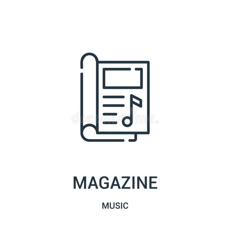 tidskriftsymbolsvektor från musiksamling Tunn linje illustration för vektor för tidskriftöversiktssymbol stock illustrationer