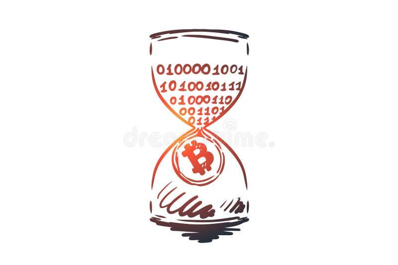 Tidsstämpel bitcoin, blockchain, valuta, digitalt begrepp Hand dragen isolerad vektor vektor illustrationer
