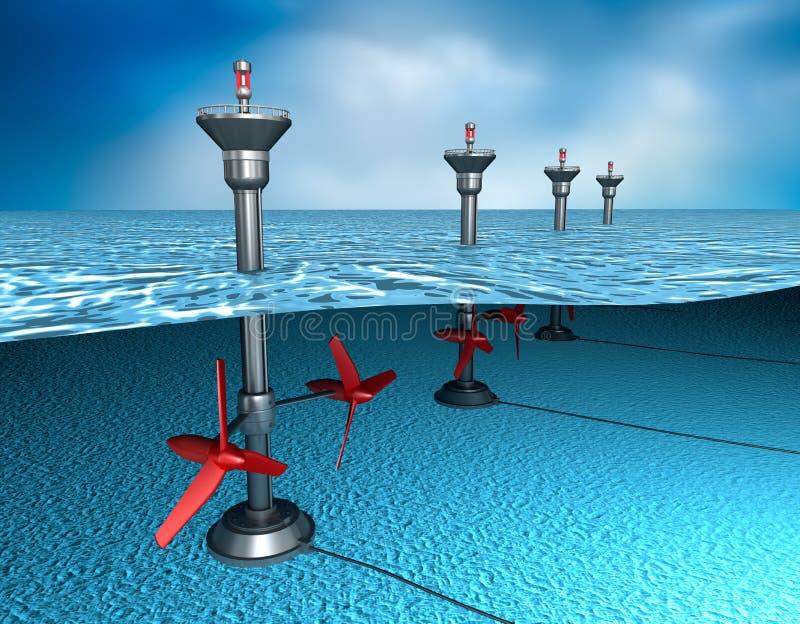 Tidvattens- energi: generator i havet stock illustrationer
