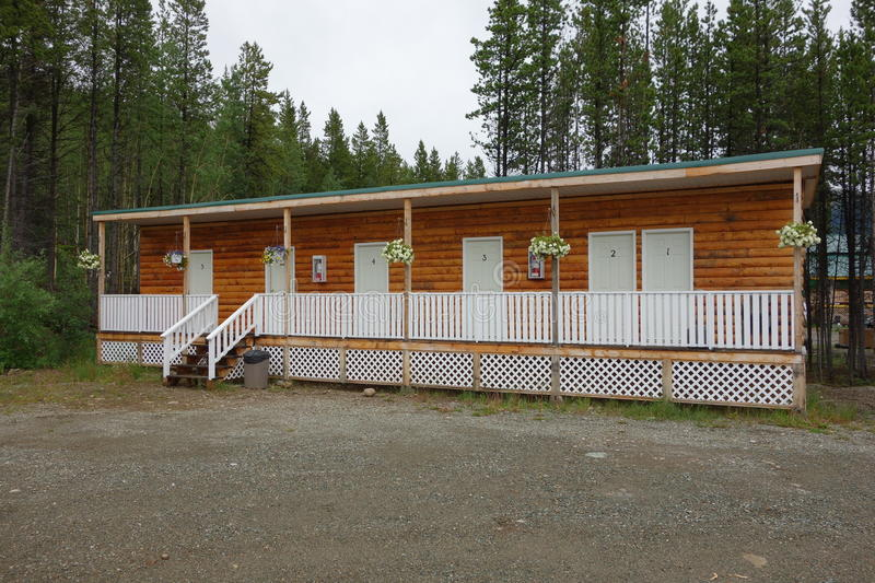 A tidy motel along the cassiar highway. Rooms to rent at jade city, canada royalty free stock photo