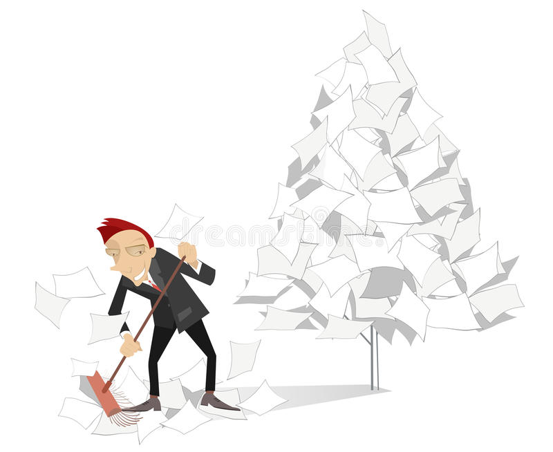 Tidying up. Man sweeps papers in the office and makes a paper tree royalty free illustration