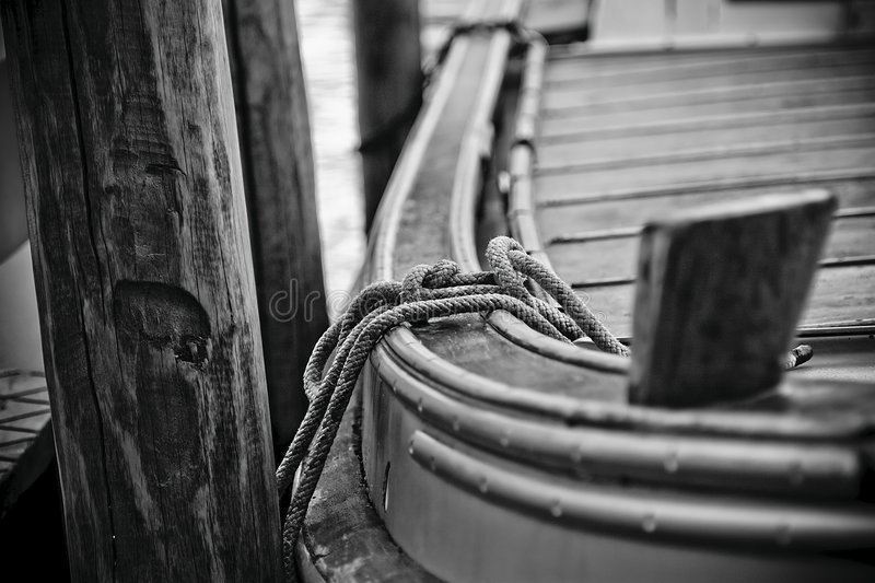 Tie the boat stock photography