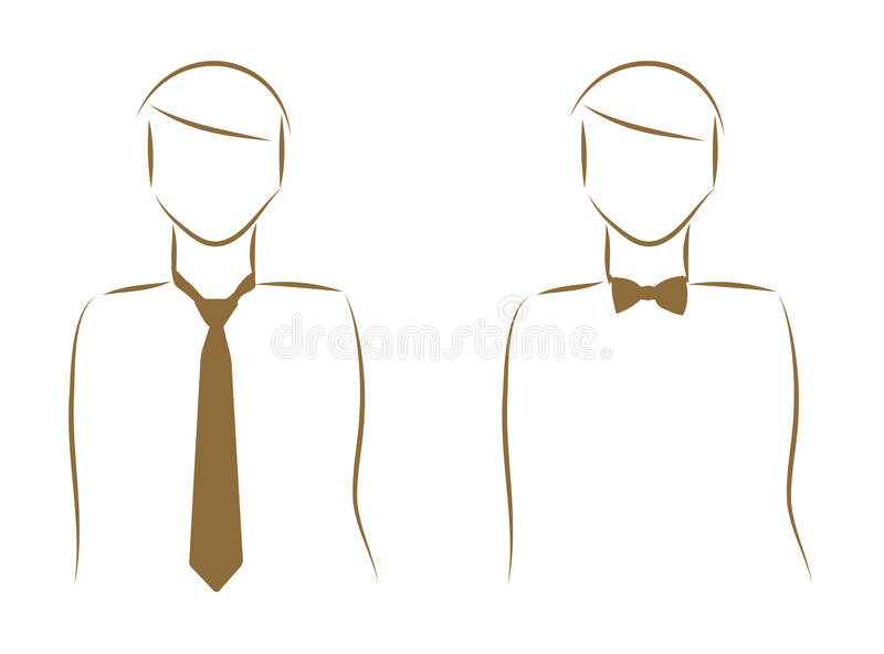 Download Tie and a bow tie stock vector. Image of cravat, contour - 22957439