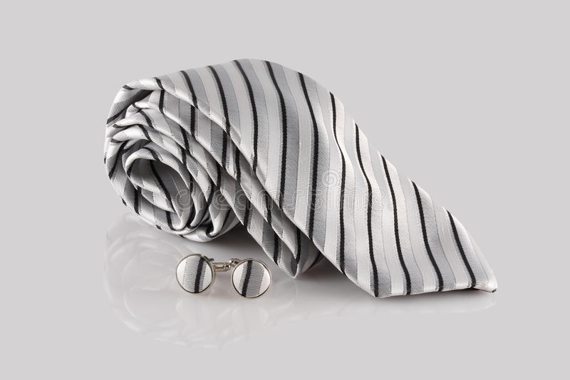 Tie with cuff links stock image