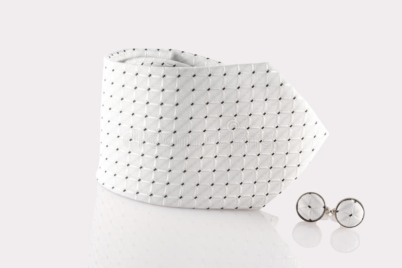 Tie with cuff links. On white background royalty free stock photography
