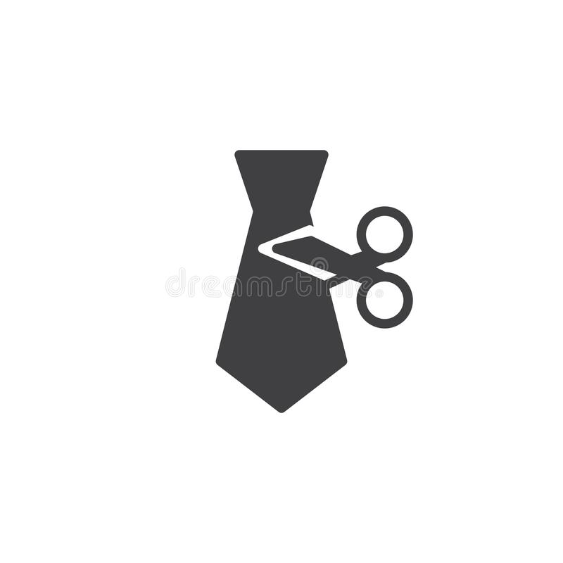 Tie Cut vector icon. Filled flat sign for mobile concept and web design. Employee Reduction simple solid icon. Symbol, logo illustration. Pixel perfect vector stock illustration