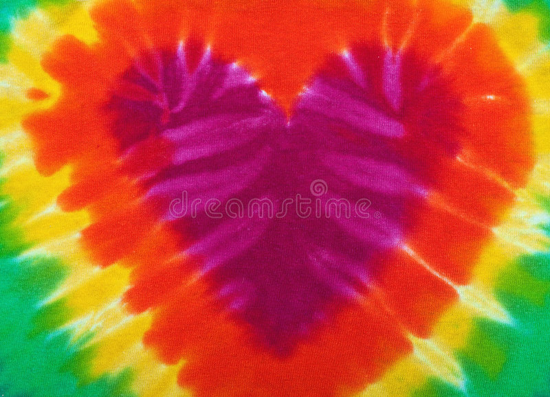 Tie dye heart. Heart shaped Tie-dye background with many colors