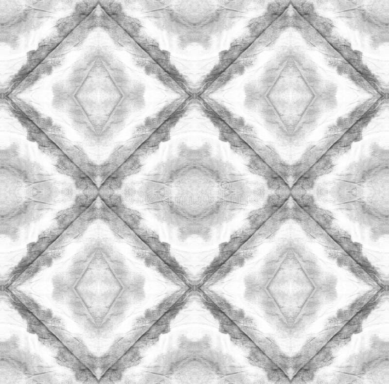 Tie Dye Pattern. Black and White Shibori seamless print. Watercolor hand drawn batik. Summer ink japan illustration. Handmade watercolour shirt  Aztec stock illustration