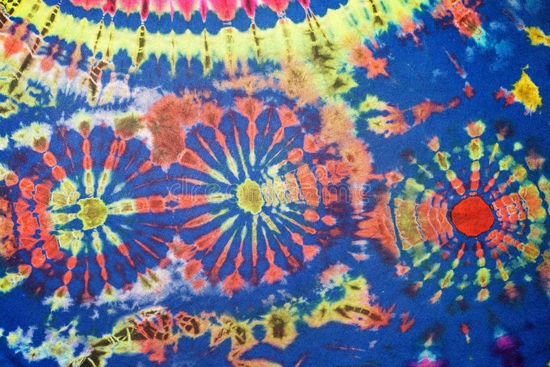 Tie-Dye Pattern. Colorful pattern of tie-dye clothing royalty free stock photos