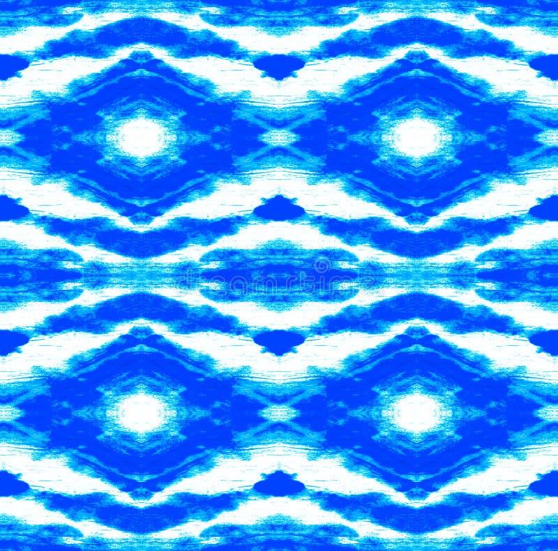 Tie Dye Pattern. Indigo and Blue Shibori seamless print. Watercolor hand drawn batik. Summer ink japan illustration. Handmade watercolour shirt tie dye pattern vector illustration