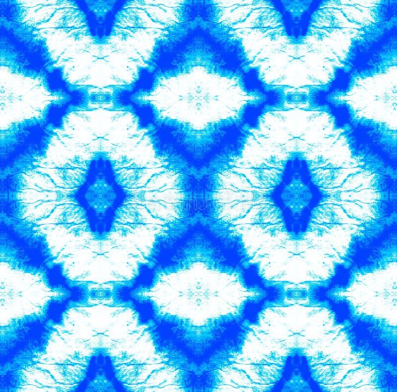 Tie Dye Pattern. Indigo and Blue Watercolor hand drawn batik. Summer ink japan illustration. Handmade watercolour shirt  Aztec kaleidoscope texture. Shibori stock illustration