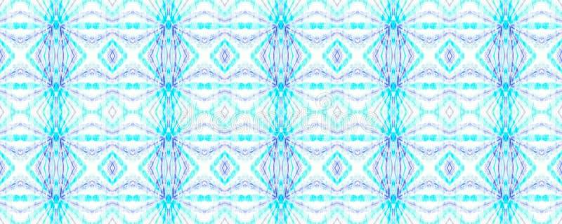 Tie Dye Pattern. Indigo and Blue Watercolor hand drawn batik. Summer ink japan illustration. Handmade watercolour shirt  Aztec kaleidoscope texture. Shibori royalty free illustration