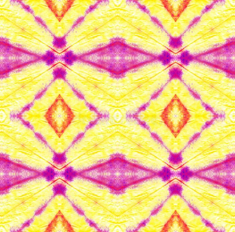 Tie Dye Pattern. Purple and Violet Watercolor hand drawn batik. Summer ink japan illustration. Handmade watercolour shirt tie dye pattern. Aztec kaleidoscope stock illustration