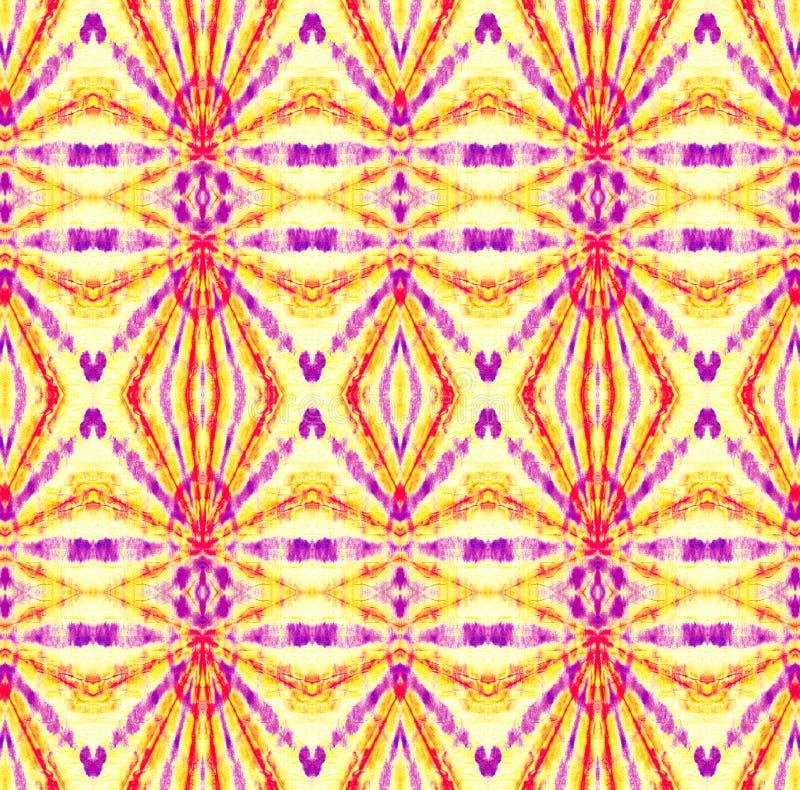 Tie Dye Pattern. Purple and Violet Watercolor hand drawn batik. Summer ink japan illustration. Handmade watercolour shirt  Aztec kaleidoscope texture. Shibori royalty free illustration