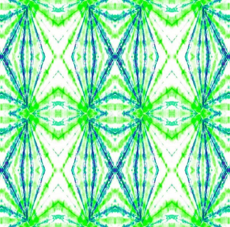 Tie Dye Pattern. Seafoam Green Shibori seamless print. Tie Dye Pattern. Watercolor hand drawn batik. Summer ink japan illustration. Handmade watercolour shirt stock illustration