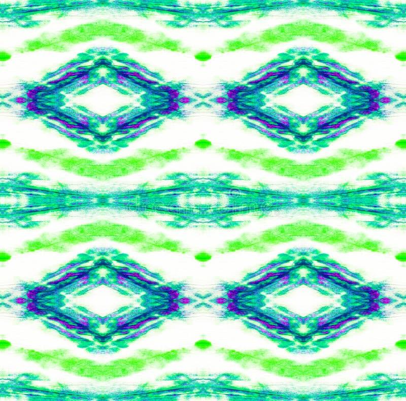 Tie Dye Pattern. Seafoam Green Watercolor hand drawn batik. Summer ink japan illustration. Handmade watercolour shirt  Aztec kaleidoscope texture. Shibori royalty free illustration