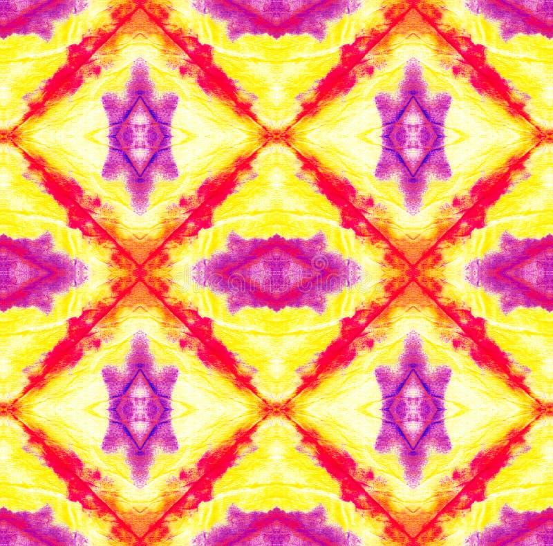 Tie Dye Pattern. Shibori seamless print. Purple and Violet Watercolor hand drawn batik. Summer ink japan illustration. Handmade watercolour shirt tie dye royalty free illustration